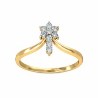 Diamond Ring 0.13Carat Natural Certified Diamond Yellow / White Gold