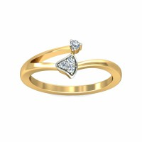 Gold Diamond Rings 0.03Carat Natural Certified Diamond Yellow / White Gold