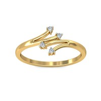 Gold Ring for Women 0.04Carat Natural Certified Diamond Yellow / White Gold