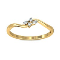 Diamond Ring 0.03Carat Natural Certified Diamond Yellow / White Gold