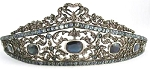 Princess Tiara And Crown 13.95 Ct Natural Certified Diamond Blue Sapphire Sterling Silver Headband