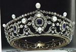 Princess Tiara And Crown 15.7 Ct Natural Certified Diamond Pearlandblue Sapphire Sterling Silver Head Pieces