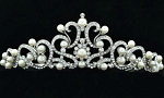 Queen Crown 6.55 Ct Natural Certified Diamond Pearl Sterling Silver Brithday Tiara