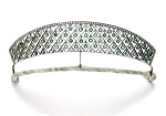 Diamond Crown 12.5 Ct Natural Certified Diamond Emerald Sterling Silver Antique Victorian