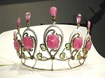 Princess Tiara And Crown 3.85 Ct Natural Certified Diamond Ruby Sterling Silver Victorian Reproduction