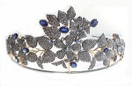 Bridal Headpieces 6.9 Ct Natural Certified Diamond Blue Sapphire Sterling Silver Bridal Headpieces