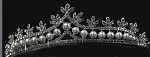 Princess Tiaras And Crowns 7.9 Ct Natural Certified Diamond Pearl Sterling Silver Bridal Hair Accessories