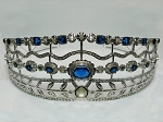 Bridal Hair Accessories 8.5 Ct Natural Certified Diamond Blue Sapphire Sterling Silver Queen Crown