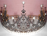 Princess Tiara And Crown 13.4 Ct Natural Certified Diamond Pearl Sterling Silver Diamond Crown