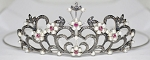 Queen Crown 3.42 Ct Natural Certified Diamond Rubyandpearl Sterling Silver Victorian Reproduction