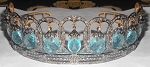 Tiaras And Crowns 11.6 Ct Natural Certified Diamond Blue Topaz Sterling Silver Headband
