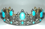 Princess Tiara And Crown 10.85 Ct Natural Certified Diamond Turquiose Sterling Silver Mugal Inspried
