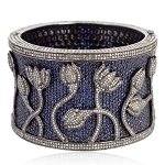 Blue Sapphire ANTIQUE Bangle 15.37ct Pave Diamond Sterling Silver Bracelet