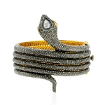 Pave Diamond Ruby Spiral Snake Bangle Bracelet Sterling Silver Jewelry