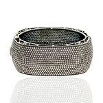 33.99ct Pave Diamond Sterling Silver VINTAGE Bangle Bracelet Jewelry