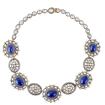 Uncut/Rose Cut Diamond Tanzanite Designer Necklace 925 Sterling Silver