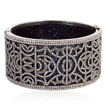Blue Sapphire 15.32ct Pave Diamond Sterling Silver Bangle Bracelet