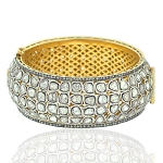 Natural 14.05ct Uncut Diamond Victorian Bangle Bracelet 925 Silver