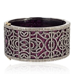 39.70ct Pave Ruby Diamond Sterling Silver Bangle Fashion Jewelry