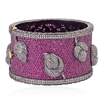 45.19ct Pave Ruby Diamond Sterling Silver Bangle Fashion Jewelry