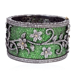 Pave Tsavorite Diamond Sterling Silver Leaf Floral Style Bangle