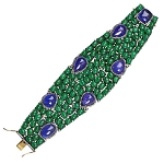 Pave Diamond Emerald Tanzanite Wide Bracelet 925 Silver Wedding Jewelry