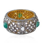 Sterling Silver 18.5ct Uncut Diamond Emerald Victorian Bangle Bracelet