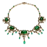 Antique Choker Necklace 8.5ct Pave Diamond Emerald Gemstone Jewelry