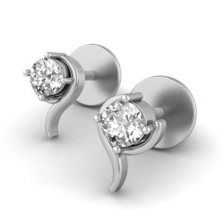 Gold Diamond Earrings 0.1 Ct Solid Gold Engagement