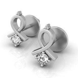 White Gold Diamond Earrings 0.06 Ct Natural Diamond Solid Gold Wedding