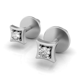 White Gold Diamond Stud Earrings 0.08 Ct Natural Diamond Solid Gold Festive
