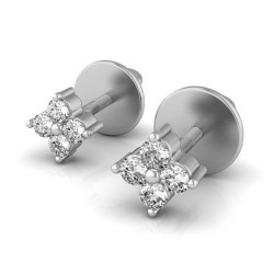 White Gold Diamond Stud Earrings 0.08 Ct Natural Diamond Solid Gold Anniversary