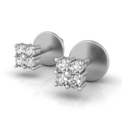 Diamond White Gold Earrings 0.16 Ct Natural Diamond Solid Gold Party