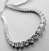 Diamond Strings 20 ct Natural Diamond Solid Gold Single Line Necklace Certified