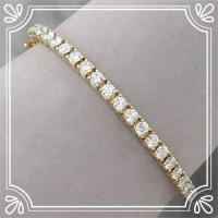 Tennis Bracelet Natural Diamond 2.5 ct Solid Gold Natural Certified