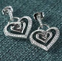Heart Earrings 0.75 ct Diamond 18k Natural Certified Solid gold Hot Deal