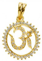 Religious Jewelry 1.00 ct Diamond 18k solid gold om Pendant Natural Certified