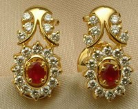 Gemstone Earrings 0.70 ct Diamond ruby 18k Natural Certified Solid gold  Hot Deal