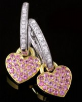 handmade Gemstone Earrings 0.40 ct Diamond 18k Natural Certified Solid gold pink tourmaline Hot Deal