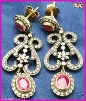 Gemstone Dangle Earrings 2.50 ct Diamond ruby 18k Natural Certified Solid gold  Hot Deal