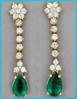 Gemstone Drop Earrings 1.25 ct Diamond 18k Natural Certified Solid gold emerald  Hot Deal