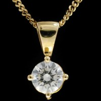 Diamond Pendant Necklace 0.20 ct 18k Yellow gold solitaire Natural Certified