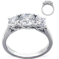 Three Stone Diamond Ring 2.00 Ct Natural Diamond 18k solid gold solitaire ring Hot Deal Certified