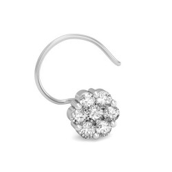 Solitaire Nose Ring 0.15 Ct Natural Diamond Solid Gold Party