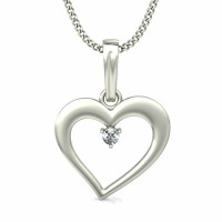Heart Necklace Love 0.03 ct Diamond Pendant Solid Gold Natural Certified
