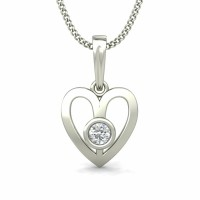 Diamond Heart Pendant Necklace  0.08 ct Solid Gold Natural Certified