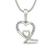 Heart Necklaces 0.06 ct Diamond Valentine pendant Solid Gold Natural Certified