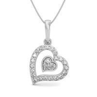 Heart Necklace Pendant  0.15 ct Diamond Solid Gold Natural Certified