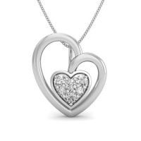 Heart Necklace  0.05 ct Diamond Pendant Solid Gold Natural Certified