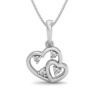 Heart Necklace Pendant  0.04 ct Diamond Gift for Her Solid Gold Natural Certified